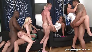 Interracial anal fucking with a double penetration for Gabriella Daniels