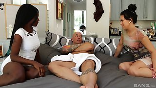 Hardcore interracial troika with pornstars Kay Love and Mia Pearl