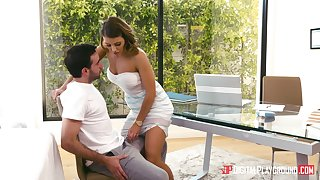Massage therapist Adriana Chechik gives a BJ and takes a cock up the brush cunt