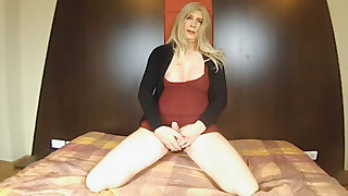 Blonde European Shemale Load of shit Play And Jerk Of Bidding (JOI) - SexLikeReal Shemale