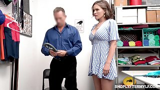 The man sexy shoplifter Krissy Lynn gets punished in a guard room