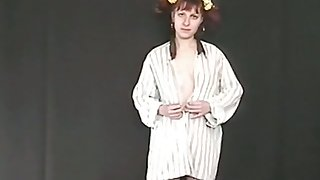 Pigtailed ginger nympho flashes her ugly pale confidential and her pissing show