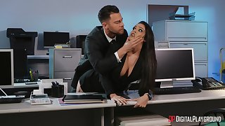 Office threesome with pornstars Jane Wilde and Katana Kombat