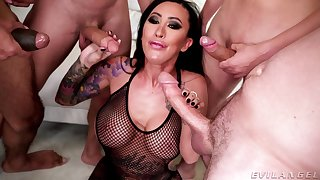 Asian whore gags and sucks dicks in premium corps bang XXX action