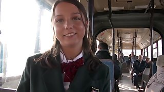 Young girl has anal sex on dramatize expunge public bus