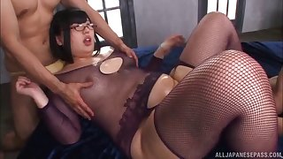 Erotic fucking with oiled Japanese BBW Hana Yurino and 2 dudes