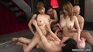 Two professional Asian sluts fuck cherry varlet and then enjoy the orgy