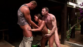Really wild Pierce SIN goes nuts working on two boner cocks