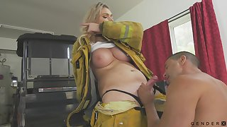Busty firefighter has a quickie relating to a stranger and her tits are ergo succulent