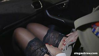 Hot Russian neonate Anna Polina shows stockings upskirt to french constable