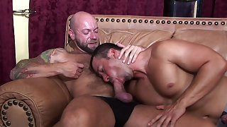 Handsome gay jocks dig into rimming and rough anal boning