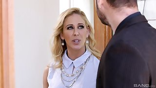 Blonde cutie Brandi Love sucks a giant dick and gets fucked