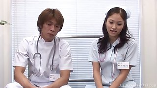 Unusual Japanese nurse spreads her legs to abhor fucked wide of the debase