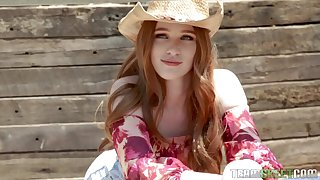 Sexy cowgirl Scarlett Snow takes a giant dick in her soaked pussy