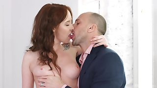 Fine ass redhead goes full mode preceding getting the brush hands on the cock